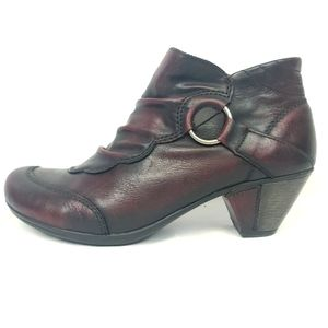 REMONTE 100% Leather Wine Colored Short Bootie